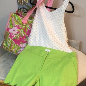 New Crown And Ivy Neon Green Scallop Edge Short 10
